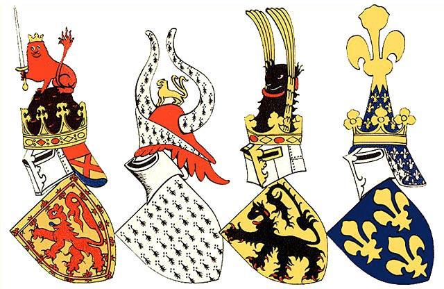 Гербовые щиты королей и герцогов Шотландии, Бретани, Фландрии, Франции