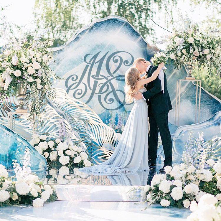 свадебная монограмма декор оформление свадебного торжества