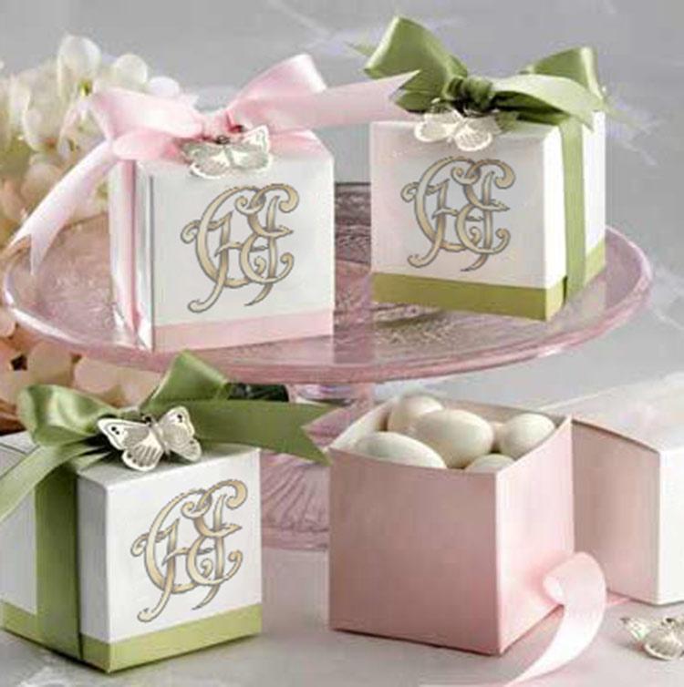 свадебная монограмма на подарках, на сладостях
