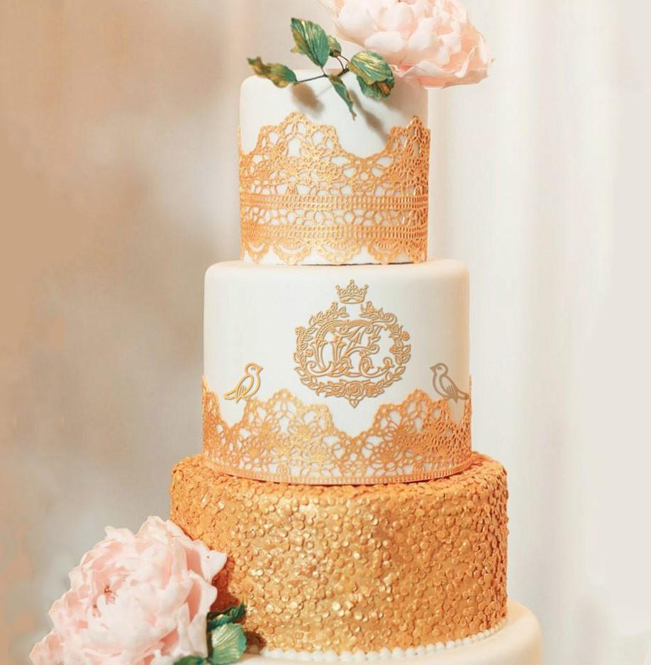 свадебный вензель на торте, на сладостях