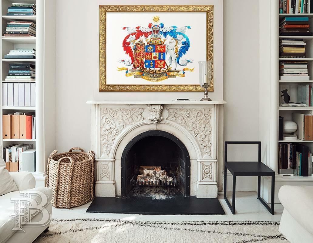 Картина с гербом в дизайне дома или кабинета