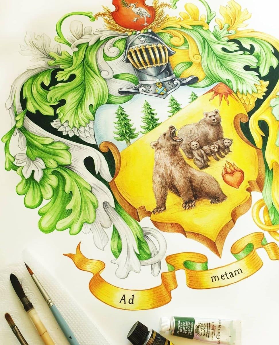 Герб рода, медведи на гербе, герб наследие семьи